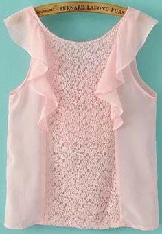Pink Sleeveless Lace Ruffle Chiffon Blouse                                                                                                                                                                                 More