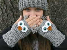 Crochet Owl Fingerless Gloves Wrist Warmers by MakingsofShannaTice, $26.00