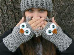Calentadores de muñeca ganchillo buho guantes Fingerless con ojos de seguridad Aqua y suave ceniza gris hilado de acrílico tamaño mujer es normal o grande