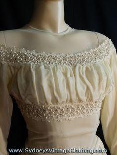 Vintage 30's Glam Velvet Empire Waist Wedding Gown Dress Xsmall