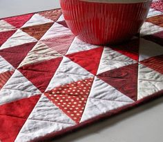 Valentine Table RunnerRed and White Handmade by atthebrightspot,  Choose fabrics from: http://laughinghousefabric.etsy.com