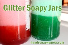 Toddler Sensory Activity: Soapy Jars I filled up some old peanut butter jars halfway with water. Add a few drops of food coloring, a squirt of dish soap, sprinkles of glitter. Sensory Tubs, Sensory Activities Toddlers, Sensory Bottles, Baby Sensory, Infant Activities, Activities For Kids, Sensory Play, Peanut Butter Jar, Toddler Play