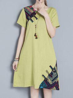 Vintage Women Short Sleeve Patchwork Pocket Dresses Shopping Online - NewChic Mobile.