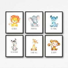 Animals Printable Nursery Art Jungle Animals Nursery Decor