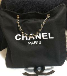 9d950b9a3c2c Chanel VIP Black Canvas Tote Bag Shopper Faux Leather Chain gift  fashion   clothing