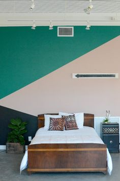 Fun painted-geometric-wall using @frogtape