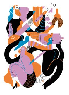 Cute characters from illustrator Xoana Herrera - Knuddeln Bilder Abstract Illustration, People Illustration, Flat Illustration, Character Illustration, Graphic Design Illustration, Digital Illustration, Graphic Art, Medical Illustration, Posca Art