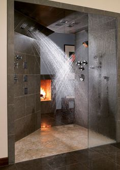 walk in shower with fireplace