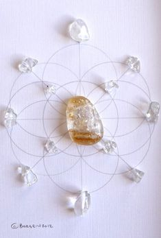WEALTH NEW BEGINNINGS framed sacred crystal grid citrine --- quartz