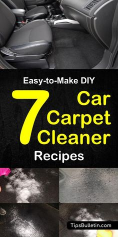 DIY carpet cleaning tips and cleaner recipes, including how to get tough stains out of floor mats. Multiple homemade cleaner recipes made of baking soda, vinegar and other home remedies. Lot's of car carpet cleaning tricks on how to get even difficult spo Car Carpet Cleaner, Clean Car Carpet, Carpet Cleaners, Diy Car Seat Cleaner, Deep Cleaning Tips, House Cleaning Tips, Cleaning Solutions, Cleaning Inside Of Car, Diy Auto