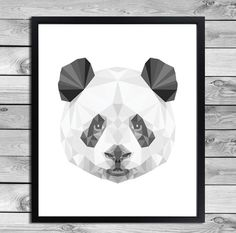Digital download: Panda bear poster. In the black white gray - geometric patterns. Fun for a list or as a poster on the wall with washi tape!    WHAT
