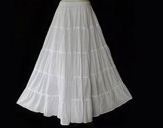 Handmade White Skirt Hippie Gypsy Bohemian Patchwork WHITE Cotton Long Skirt - BH020 on Etsy, $36.00