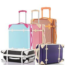 2057c7cd7 BTM Hard Shell ABS Retro Vintage Cabin Luggage 4 wheels Suitcase Travel Case