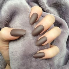 Doobys Oval Nails Deep Brown Matte 24 Rounded False Nails ($20) ❤ liked on Polyvore featuring beauty products, nail care and nail treatments