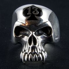 Spade Head Skull Ring Another excellent, highly polished Skull Ring The lucky 13 is highlighted by the black enamel Spade design. Lucky Number 13, Pirate Skull, Skull And Crossbones, Rings Cool, Black Enamel, Sterling Silver Rings, Devon, Etsy Shop, Pendant