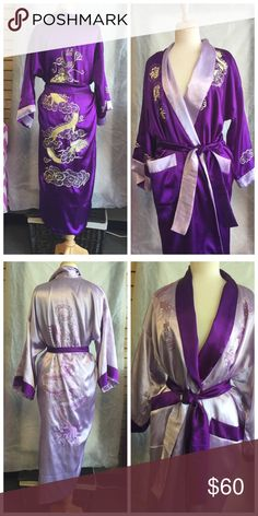 Reversible Asian embroidered robe Brought back from Japan. Polyester- not silk. VGUC. Size Large Nordstrom Intimates & Sleepwear Robes