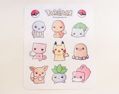 "Glossy 5"" x 6"" uncut sticker sheet featuring first generation Pokemon. Includes Squirtle, Charmander, Bulbasaur, Mew, Pikachu, Diglett, Eevee, Oddish, and Slowpoke. Also available as individual charms."