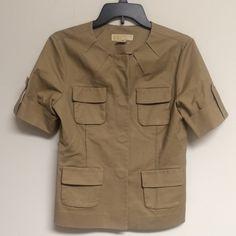Michael kors khaki jacket Like new!! Comes with belt that is optional to wear! MICHAEL Michael Kors Jackets & Coats