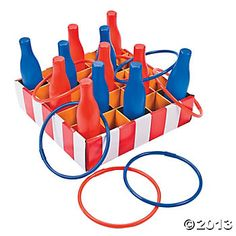 Add this classic red, white and blue game to your carnivals and of July parties for the perfect all-ages activity! This Carnival Bottle Ring Toss Game is . Carnival Party Games, Carnival Games For Kids, Carnival Birthday Parties, Circus Birthday, Birthday Party Games, Carnival Ideas, Fall Carnival, Circus Theme, Backyard Carnival