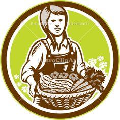 agriculture, artwork, circle, crops, farm worker, farmer, female, field, girl, graphics, harvest, illustration, organic, produce, retro, veg...