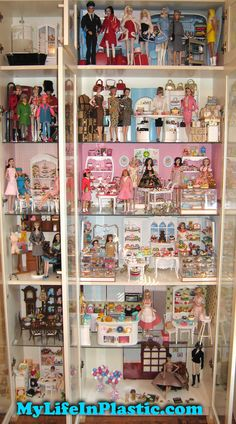 Design DIY shelf display for Barbie dolls and their accessories. Great for vintage retro toys and collectibles. Barbie Room, Barbie Doll House, Diy Barbie Clothes, Barbie Stuff, Doll Stuff, Doll Display, Shelf Display, Barbie Diorama, Barbie Accessories