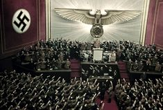 Adolf Hitler makes keynote address at Reichstag session, Kroll Opera House, Berlin, 1939.