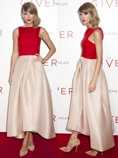Taylor Swift Dress Monique Lhuillier ring Melissa Kaye Necklace