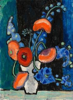 Gabriele Münter | Still Life with Flowers in a White Vase, 1940  • [Der Blaue Reiter]