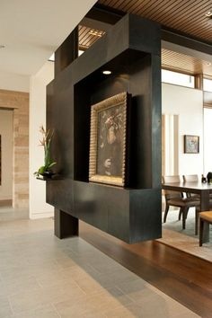 captivating-unique-black-permanent-room-dividers-plus-classic-picture-with-wood-laminate-flooring-as-well-as-dining-room-table-side-chair