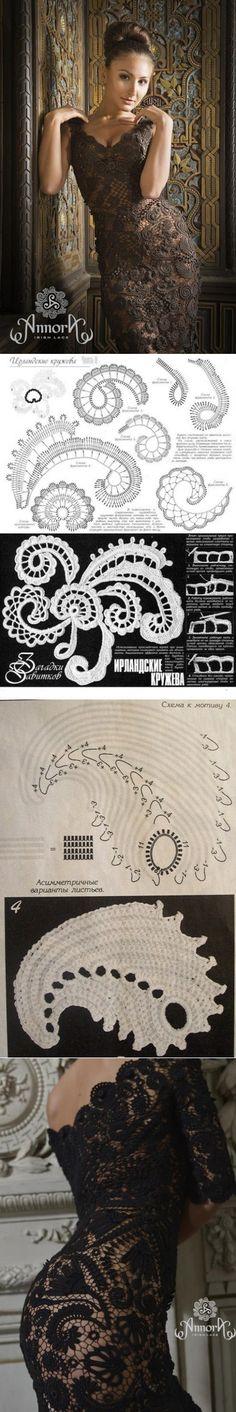 Дизайнерские вечерние пллатья в технике ИК. Кружевное платье ирландским вязанием | Домоводство для всей семьи.