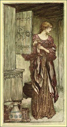 "Arthur Rackham ""WAGNER'S RING CYCLE: The Valkyrie"" (1910) ""Sieglinde prepares Hundling's draught for the night."" Arthur Rackham, Art And Illustration, Art Magique, Edmund Dulac, Ecole Art, Fairytale Art, Illustrators, Art Nouveau, Fantasy Art"