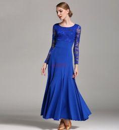 Ladies Foxtrot Waltz Ballroom Modern Tango Dance Dress Long Lace Dress S-XXL  #Unbranded