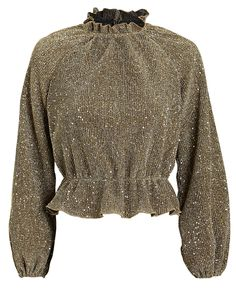 Saylor Orla Sequined Knit Top In Gold Stylish Blouse Design, Stylish Dress Designs, Stylish Dresses, Trendy Outfits, Fashion Outfits, Girls Boutique Dresses, Fancy Tops, Colorful Fashion, Blouse Designs
