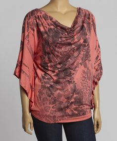 Another great find on #zulily! Coral & Charcoal Sublimation Drape Cape-Sleeve Top - Plus #zulilyfinds