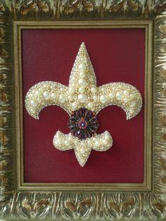 Jeweled Fleur De Lis Art by MissigirlDesigns on Etsy, $150.00