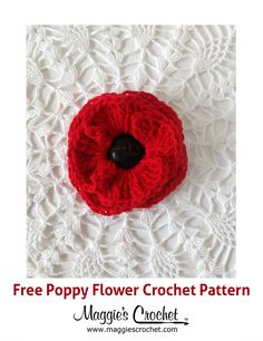 Poppies have become a rather famous flower for its many uses and symbolism. I can never think of poppies without thinking of The Wizard of Oz, while others may more commonly associate them . Crochet Puff Flower, Crochet Flower Patterns, Crochet Motif, Crochet Box, Crochet Stitches, Knitted Poppies, Knitted Flowers, Easy Crochet Projects, Crochet Crafts