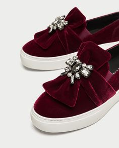 Image 7 of VELVET SNEAKERS WITH BEADED BOW from Zara