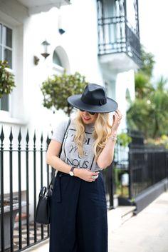 Mediamarmalade - slogan tee & navy  Culottes - fashion blogger