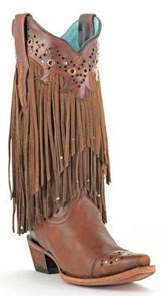 fedf4744a6 Fringed Corral Boots! Sierra Tan- Fringed With Studs. I don t know