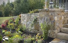 Our beautiful South Bay Quartzite cottage wall stone, mosaic veneer and step slabs at this private residence in Maine.