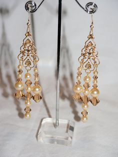 Gold toned Swarovski Crystal & Pearl by AliciasUniqueDesigns, $27.00