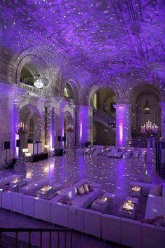 Beautiful and colorful wedding decoration. Purple wedding.