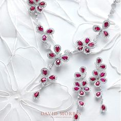 Rubies are a symbol of power, treasure and protection. Here an elegant ruby set from our 'Le Jardin' collection. A stunning piece that adds… Ruby Jewelry, Bridal Jewelry, Diamond Jewelry, Jewelry Sets, Jewelery, Silver Jewelry, Diamond Necklaces, Stone Necklace, Stone Jewelry