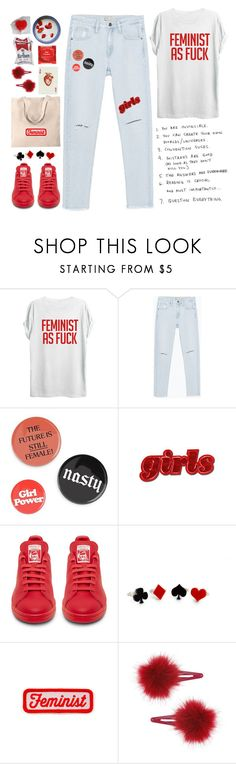 """""""Feminist Soul"""" by sazyc on Polyvore featuring TOP-TEE, Zara, LIST, Topshop, white, red, feminist and slogantshirts"""