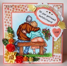 A card with a digi from Mo Mannings digital pencil Art Impressions Stamps, Mo Manning, Mo Design, Funny Cards, Anniversary Cards, Girlfriends, Handmade Cards, Frame, Pencil