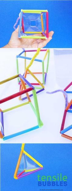 STEM Activities: Make geometric bubbles that mimic tensile structures. Great engineering project for kids!