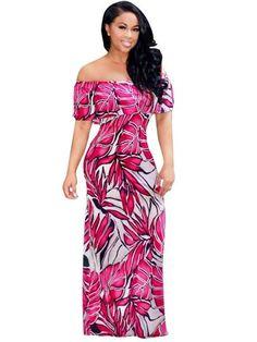 Slash Neck Leaf Pattern Women s Off Shoulder Maxi Dress. Abasona Off the  shoulder women dresses 2017 Summer long party dress casual beach ... da5e37490835