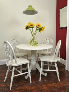 Small Round Table  Chair Set Painted in Old White