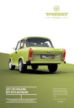 Advertising Campaign : Adeevee - Trabant Pure driving Advertising Campaign Inspiration Adeevee – Trabant Pure driving Advertisement Description Adeevee – Trabant Pure driving Sharing is caring ! Auto Poster, Poster Sport, Poster Cars, Poster Retro, Car Advertising, Creative Advertising, Advertising Design, Advertising Campaign, Minimalist Graphic Design