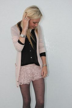 Top: Theory. Cardigan: BR Monogram. Shorts: Zara. Tights: Forever 21. Shoes: Christian Louboutin
